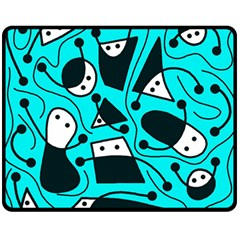 Playful abstract art - cyan Double Sided Fleece Blanket (Medium)  by Valentinaart