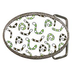 Green Worms Belt Buckles by Valentinaart