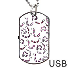 Purple worms Dog Tag USB Flash (One Side) by Valentinaart