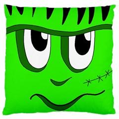 Halloween Frankenstein - Green Large Cushion Case (Two Sides) by Valentinaart