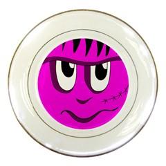 Halloween   Pink Frankenstein Porcelain Plates by Valentinaart