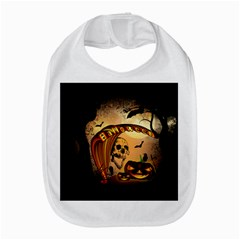 Halloween, Funny Pumpkin With Skull And Spider In The Night Bib by FantasyWorld7