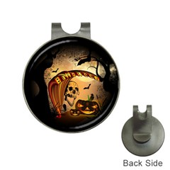 Halloween, Funny Pumpkin With Skull And Spider In The Night Hat Clips With Golf Markers by FantasyWorld7