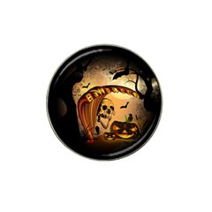 Halloween, Funny Pumpkin With Skull And Spider In The Night Hat Clip Ball Marker (10 Pack) by FantasyWorld7