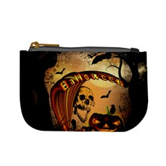 Halloween, Funny Pumpkin With Skull And Spider In The Night Mini Coin Purses by FantasyWorld7