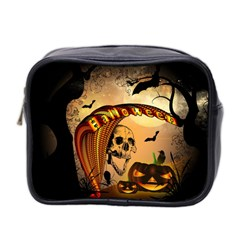 Halloween, Funny Pumpkin With Skull And Spider In The Night Mini Toiletries Bag 2 Side by FantasyWorld7