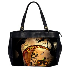 Halloween, Funny Pumpkin With Skull And Spider In The Night Office Handbags (2 Sides)  by FantasyWorld7