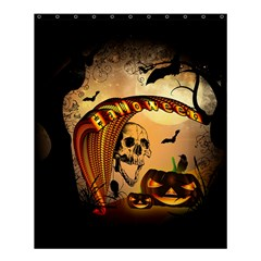 Halloween, Funny Pumpkin With Skull And Spider In The Night Shower Curtain 60  X 72  (medium)  by FantasyWorld7