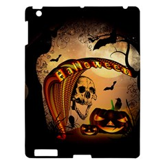 Halloween, Funny Pumpkin With Skull And Spider In The Night Apple Ipad 3/4 Hardshell Case by FantasyWorld7