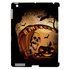 Halloween, Funny Pumpkin With Skull And Spider In The Night Apple Ipad 3/4 Hardshell Case (compatible With Smart Cover) by FantasyWorld7