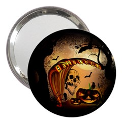 Halloween, Funny Pumpkin With Skull And Spider In The Night 3  Handbag Mirrors by FantasyWorld7