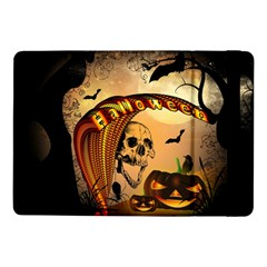Halloween, Funny Pumpkin With Skull And Spider In The Night Samsung Galaxy Tab Pro 10.1  Flip Case by FantasyWorld7
