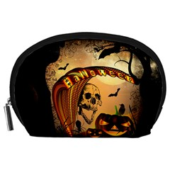 Halloween, Funny Pumpkin With Skull And Spider In The Night Accessory Pouches (large)  by FantasyWorld7