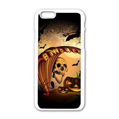 Halloween, Funny Pumpkin With Skull And Spider In The Night Apple Iphone 6/6s White Enamel Case by FantasyWorld7