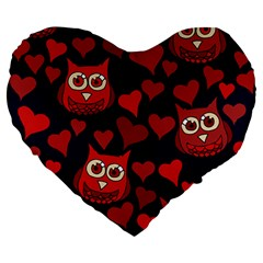 Owl You Need In Love Owls Large 19  Premium Heart Shape Cushions by BubbSnugg