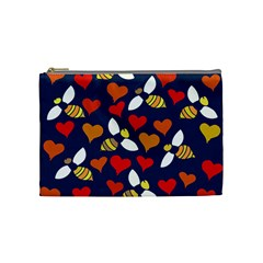 Honey Bees In Love Cosmetic Bag (medium)  by BubbSnugg