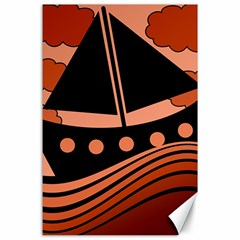 Boat - red Canvas 24  x 36  by Valentinaart