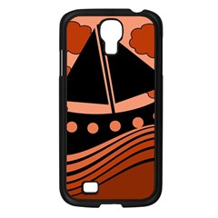 Boat   Red Samsung Galaxy S4 I9500/ I9505 Case (black) by Valentinaart