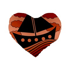 Boat   Red Standard 16  Premium Flano Heart Shape Cushions by Valentinaart