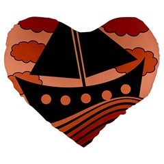Boat - red Large 19  Premium Flano Heart Shape Cushions by Valentinaart