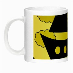 Boat   Yellow Night Luminous Mugs by Valentinaart