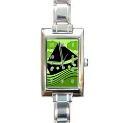 Boat - green Rectangle Italian Charm Watch by Valentinaart