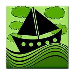 Boat   Green Face Towel by Valentinaart