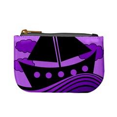 Boat   Purple Mini Coin Purses by Valentinaart