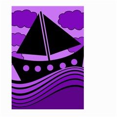 Boat - purple Large Garden Flag (Two Sides) by Valentinaart