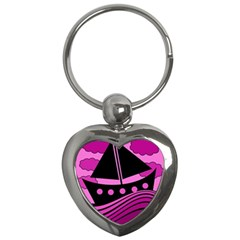 Boat   Magenta Key Chains (heart)  by Valentinaart