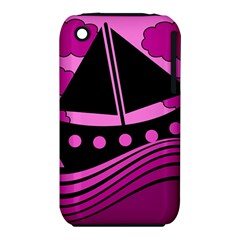 Boat - magenta Apple iPhone 3G/3GS Hardshell Case (PC+Silicone) by Valentinaart