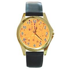 Orange Decor Round Gold Metal Watch by Valentinaart