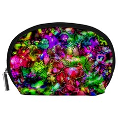 Pink Floral Abstract Accessory Pouches (Large)  by KirstenStar