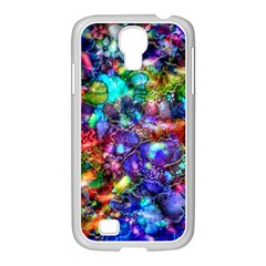 Blue Floral Abstract Samsung Galaxy S4 I9500/ I9505 Case (white) by KirstenStar