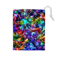 Blue Floral Abstract Drawstring Pouches (large)  by KirstenStar