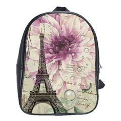 Purple Floral Vintage Paris Eiffel Tower Art School Bag (xl) by chicelegantboutique
