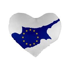 European Flag Map Of Cyprus  Standard 16  Premium Flano Heart Shape Cushions by abbeyz71