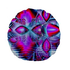 Crystal Northern Lights Palace, Abstract Ice  Standard 15  Premium Flano Round Cushions by DianeClancy