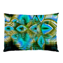 Crystal Gold Peacock, Abstract Mystical Lake Pillow Case (two Sides) by DianeClancy
