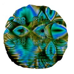 Crystal Gold Peacock, Abstract Mystical Lake Large 18  Premium Flano Round Cushions by DianeClancy