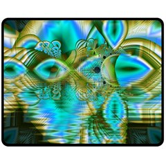 Crystal Gold Peacock, Abstract Mystical Lake Double Sided Fleece Blanket (medium)  by DianeClancy