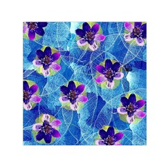 Purple Flowers Small Satin Scarf (square) by DanaeStudio