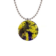 Yellow And Purple Splatter Paint Pattern Button Necklaces by traceyleeartdesigns