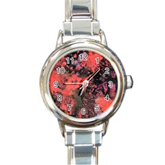 Pink And Black Abstract Splatter Paint Pattern Round Italian Charm Watch by traceyleeartdesigns