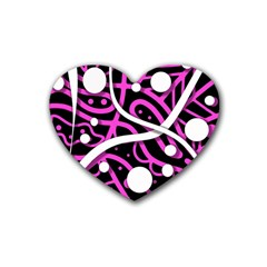 Purple Harmony Rubber Coaster (heart)  by Valentinaart