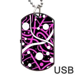 Purple harmony Dog Tag USB Flash (Two Sides)  by Valentinaart