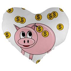 Piggy bank  Large 19  Premium Flano Heart Shape Cushions by Valentinaart