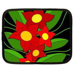 Red Flowers Netbook Case (xxl)  by Valentinaart
