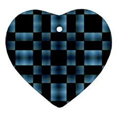 Checkboard Pattern Print Heart Ornament (2 Sides) by dflcprints