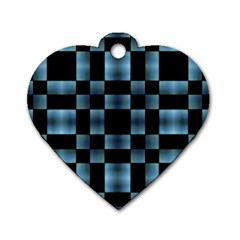 Checkboard Pattern Print Dog Tag Heart (two Sides) by dflcprints
